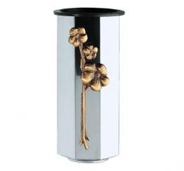 OCTAGONAL STAINLESS STEEL VASE WITH FLOWERS IN BRONZE AND BASE